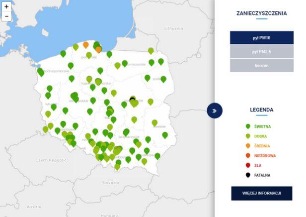 Jakość powietrza w Polsce o godzinie 13.50 TVN Meteo za GIOŚ