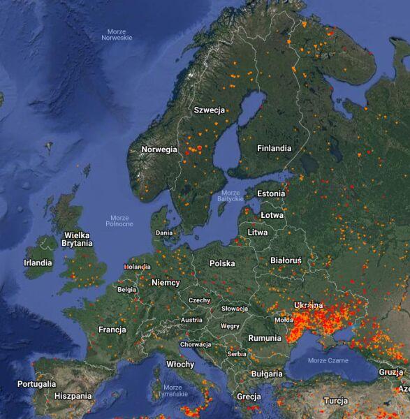 Pożary w Europie - dane z 24 lipca (EFFIS-Copernicus)