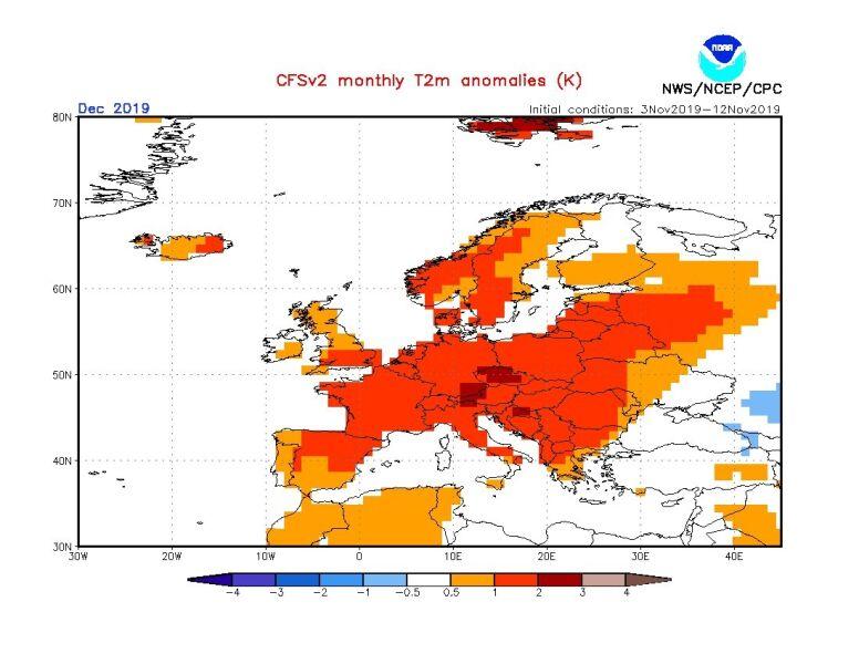 Prognoza odchylenia od średniej miesięcznej temperatury dla grudnia 2019 roku według modelu (NOAA)