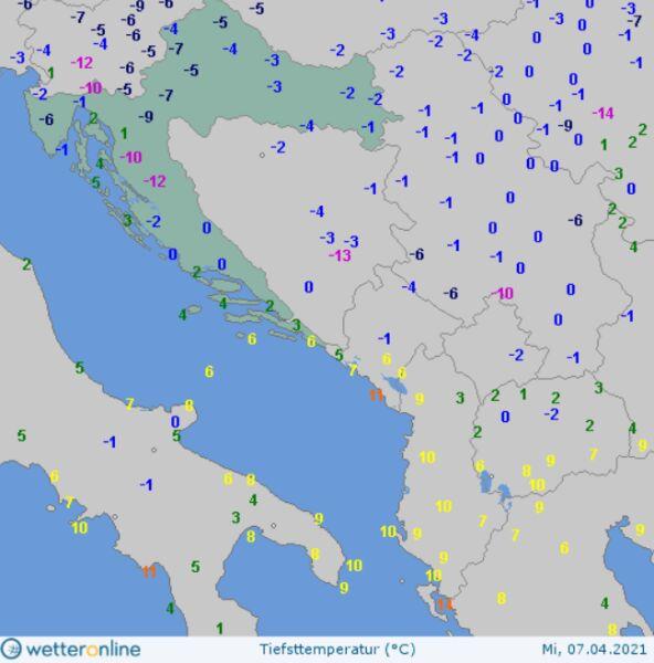 Temperatura minimalna w nocy z wtorku na środę w Chorwacji (wetteronline.de)