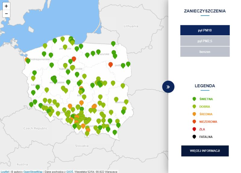 Stężenie pyłu PM10 o godzinie 18 (tvnmeteo.pl za GIOŚ)
